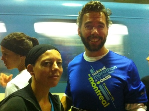 On the metro before the race - where we accidentally met up with our friend Frederic who was running the half marathon.