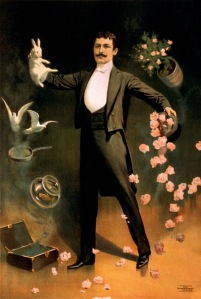 Zan_Zig_performing_with_rabbit_and_roses,_magician_poster,_1899